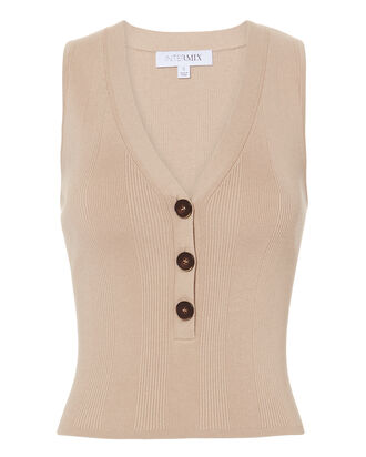 Camille Button Front Tank, BEIGE, hi-res