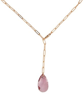 Gem Lariat Chain-Link Necklace, PINK, hi-res
