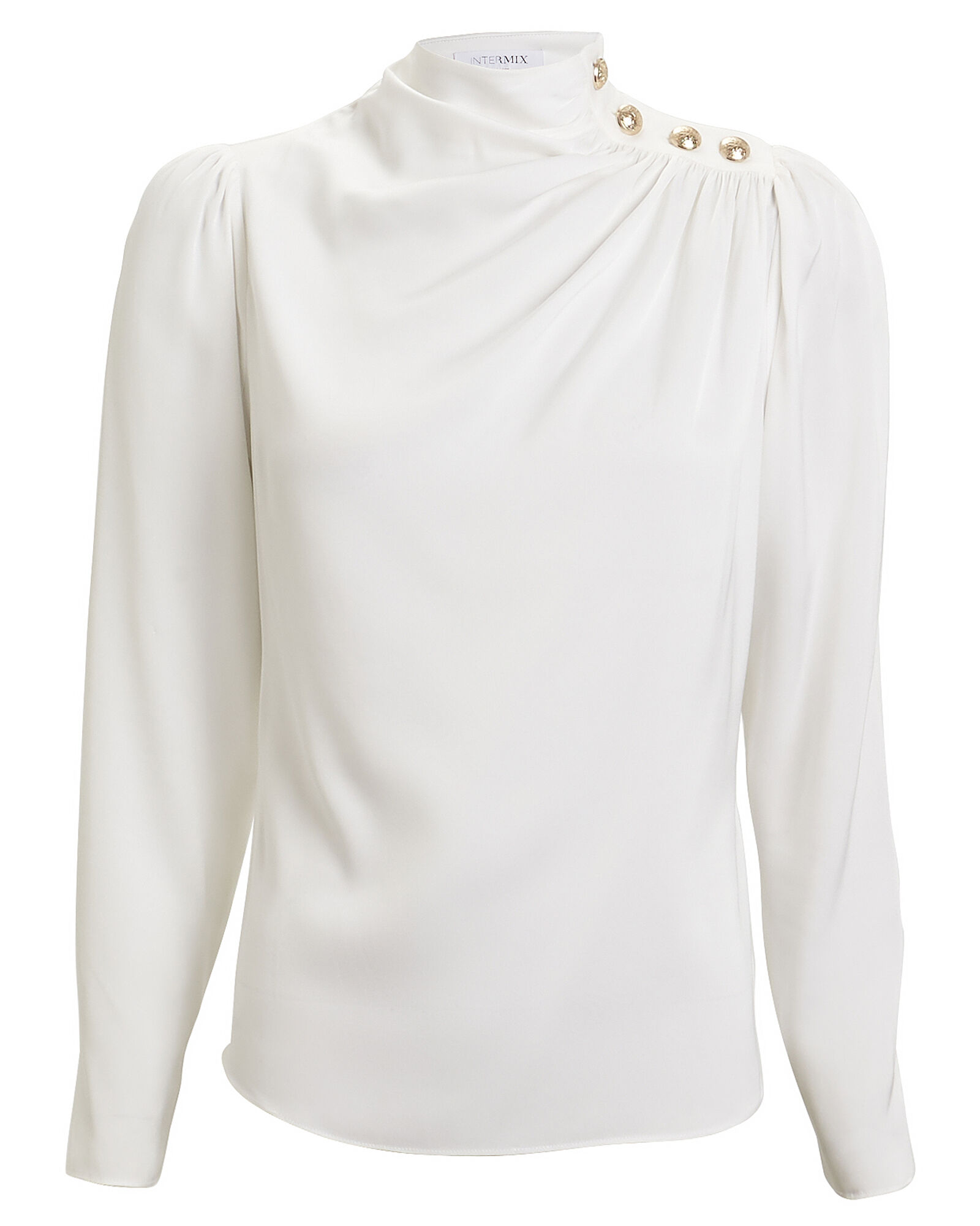 Monica Draped Silk Blouse, IVORY, hi-res