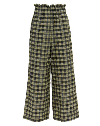 Seersucker Check Wide Leg Pants, ALOE GREEN, hi-res