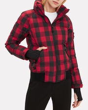 Plaid Bomber Puffer Jacket, RED, hi-res
