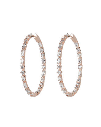 Casey Stone Hoop Earrings, CLEAR, hi-res