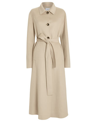 Sira Belted Double Wool Coat, IVORY, hi-res