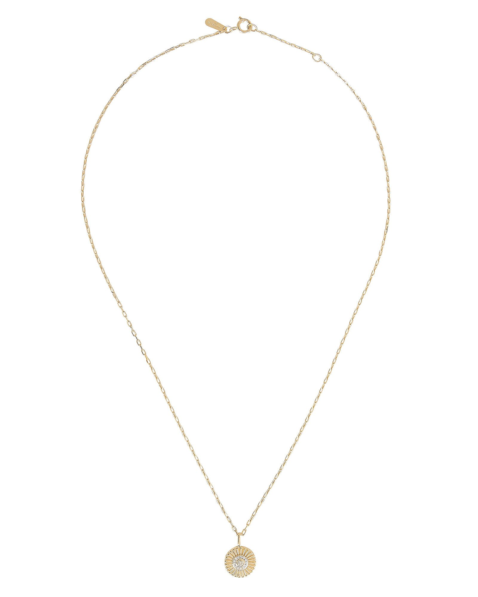 Small Diamond Rays Pendant Necklace, GOLD, hi-res