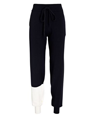 Colorblock Knit Merino Wool Joggers, NAVY/WHITE, hi-res