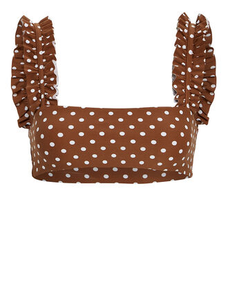 Como Ruffled Polka Dot Bandeau Top, MOCHA/POLKA DOT, hi-res