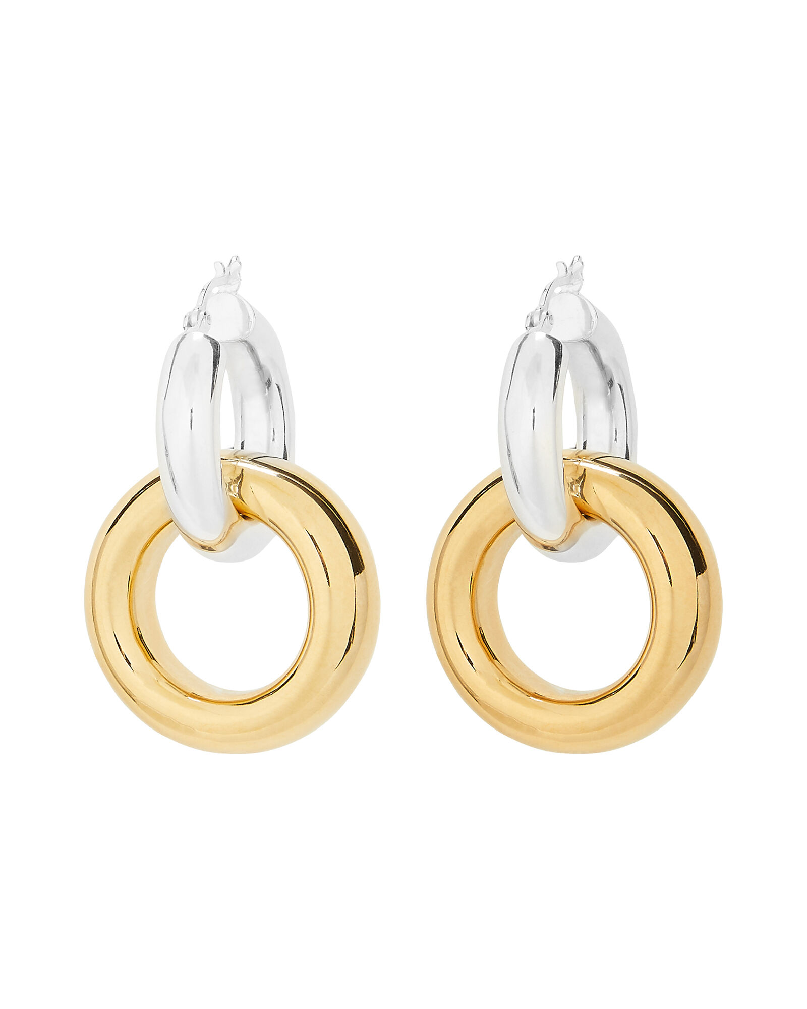 Two-Tone Interlocking Single Hoop Earring, GOLD/SILVER, hi-res
