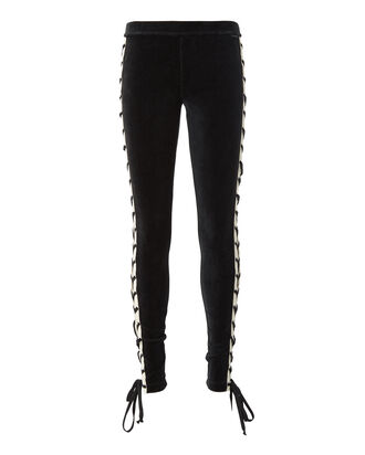 Lace-Up Velour Pants, BLACK, hi-res