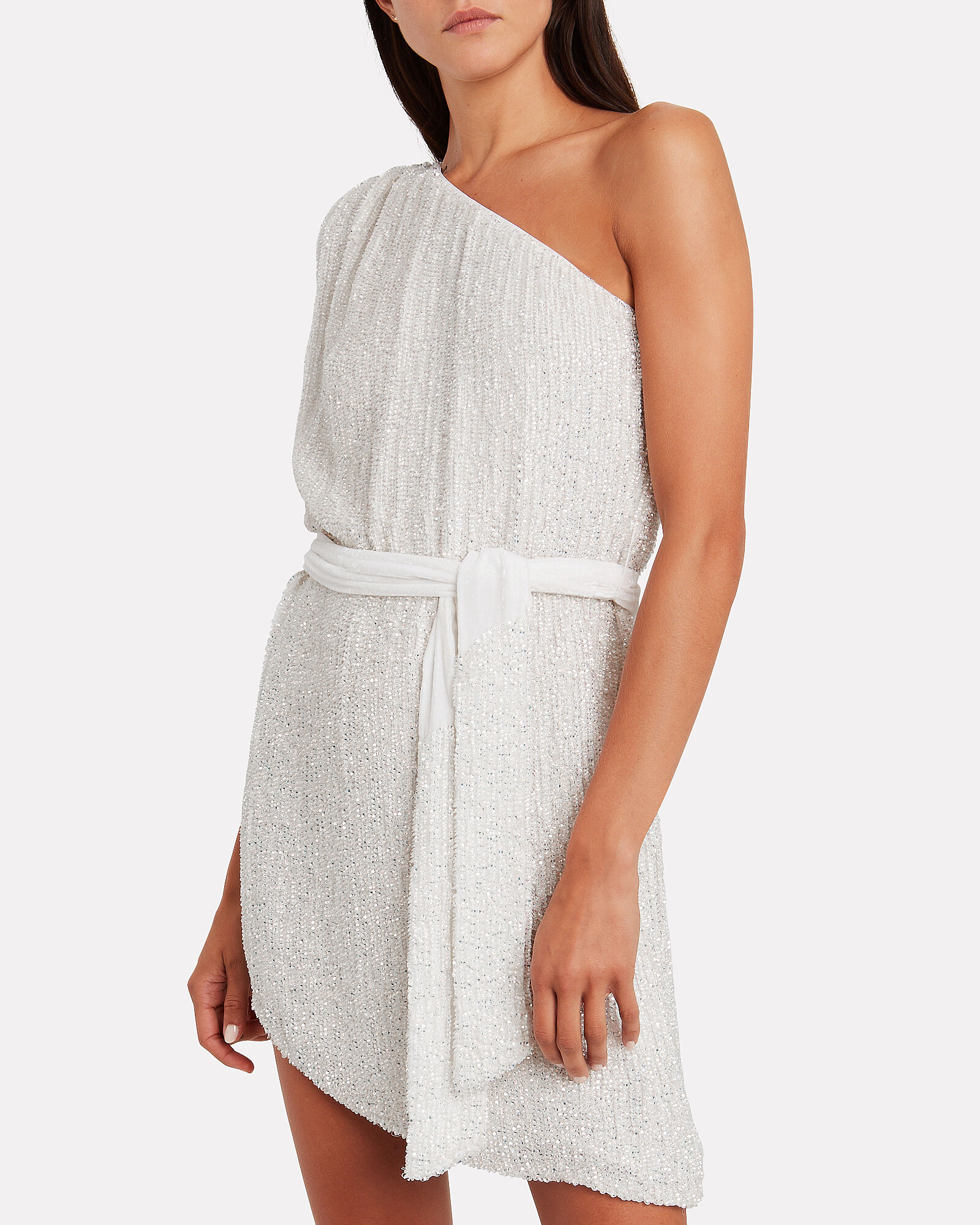 Ella One-Shoulder Sequin Dress, WHITE, hi-res
