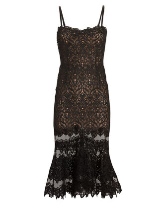 Guipure Lace Midi Dress, BLACK, hi-res