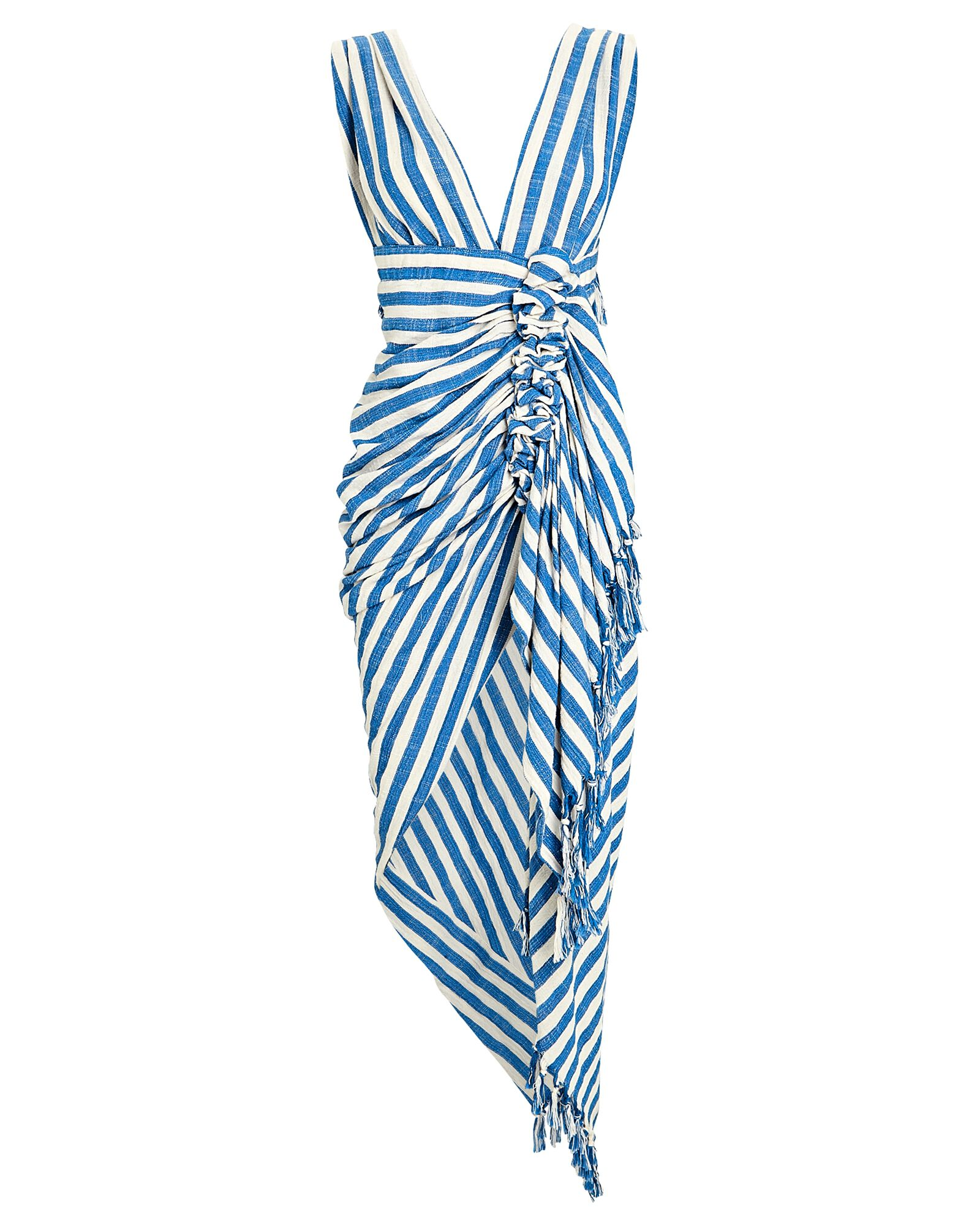 Tulum Ruched High-Low Dress, BLUE/IVORY, hi-res