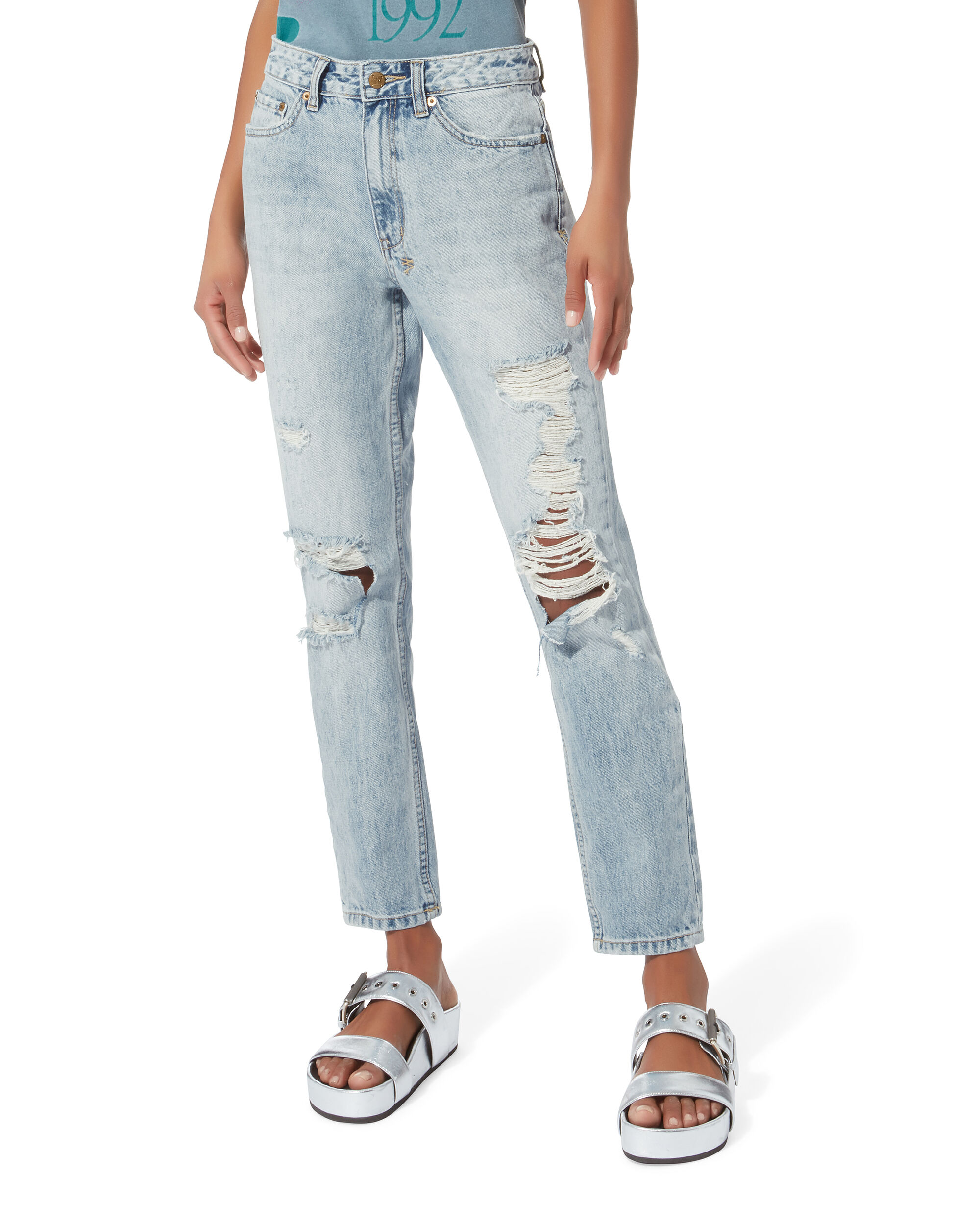 Slim Pin Distressed Jeans, DENIM-LT, hi-res
