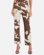 Lou Cropped Cow-Print Jeans, MULTI, hi-res