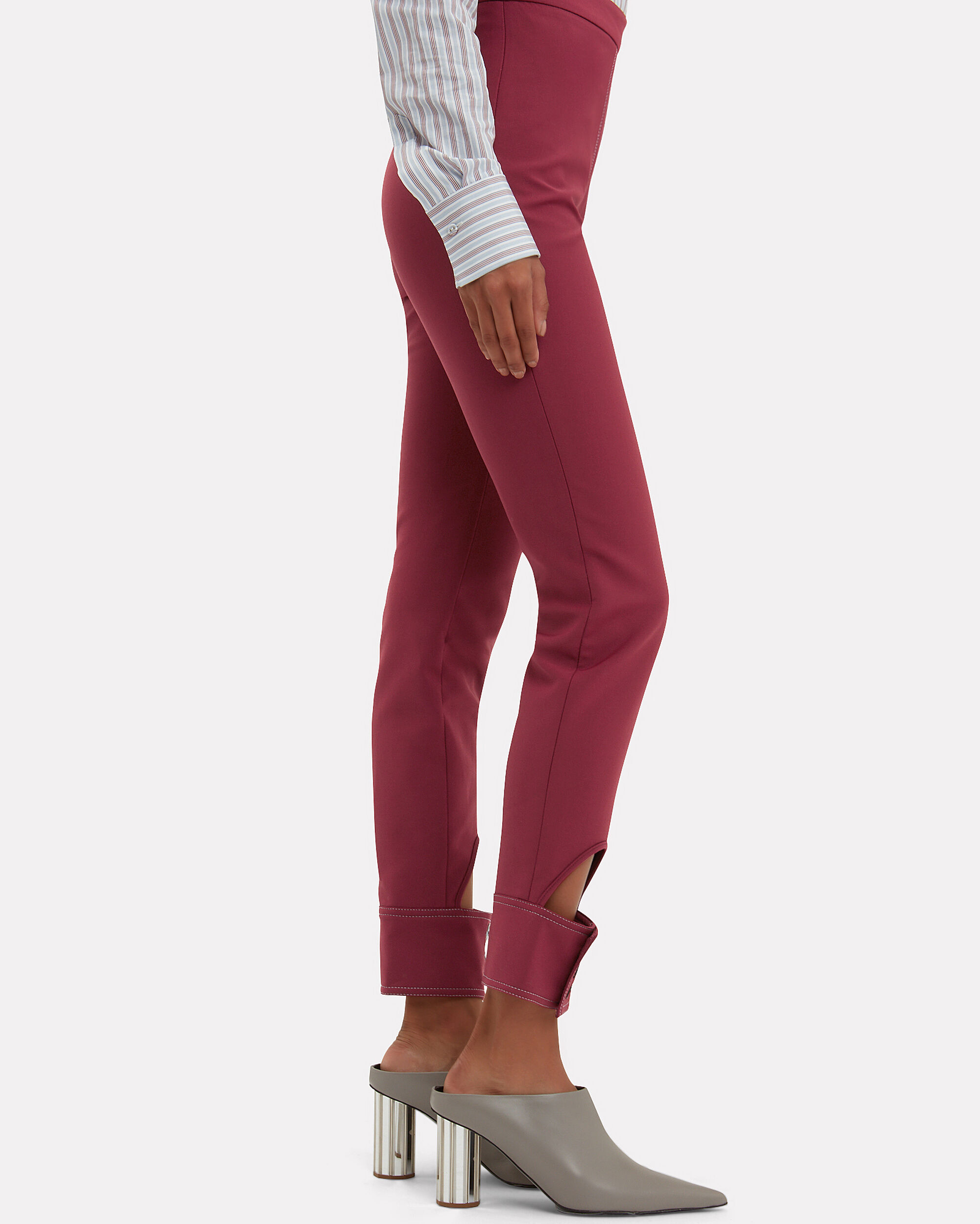 Gehry Cutout Slim Pants, RED, hi-res