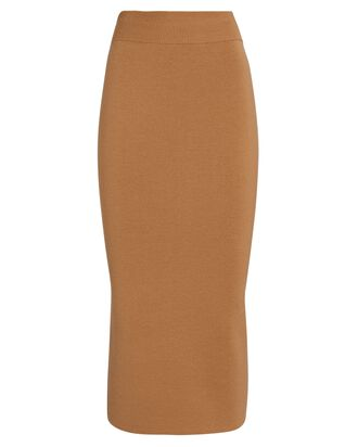 Colorblock Knit Midi Skirt, BROWN/BLACK, hi-res