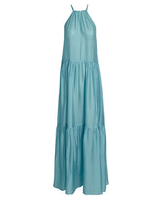 Lucinda Tiered Silk Dress, BLUE, hi-res
