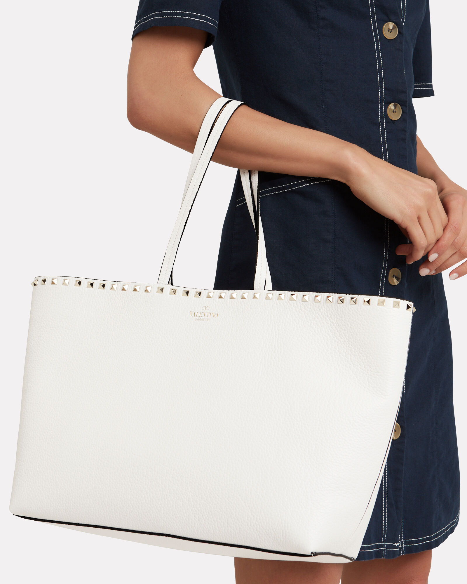 Rockstud Leather Shopper, WHITE, hi-res