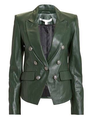 Cooke Green Leather Jacket, GREEN, hi-res