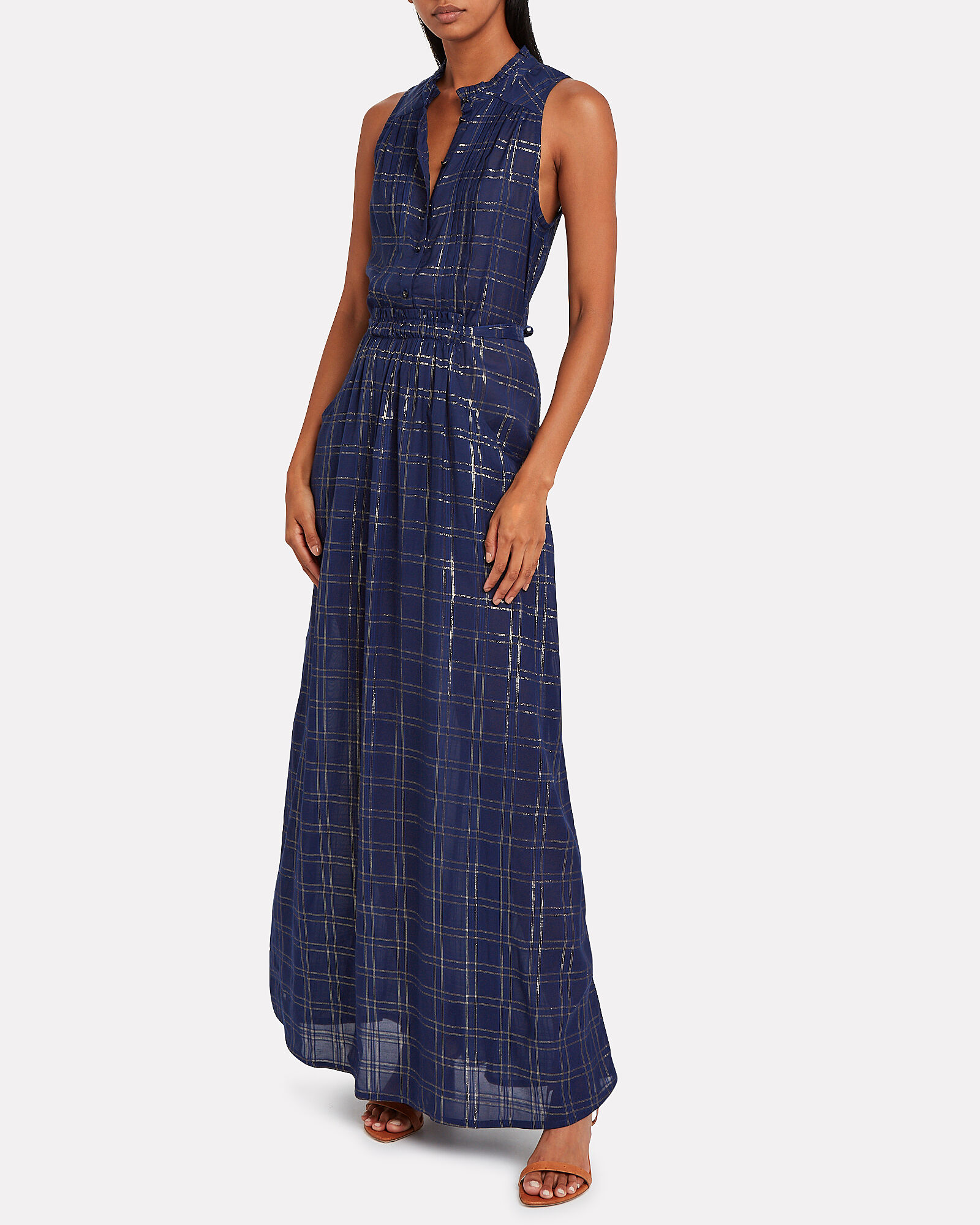 Dash Checked Sleeveless Dress, NAVY/CHECK, hi-res