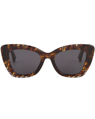 Thick Frame Logo Sunglasses, BROWN, hi-res