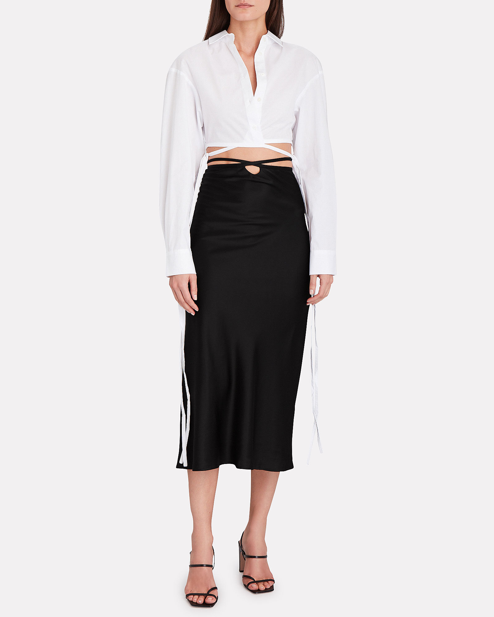 Wrap Poplin Crop Top, WHITE, hi-res