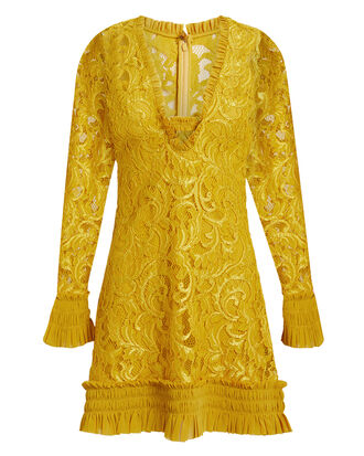 Nuray Lace Mini Dress, YELLOW, hi-res