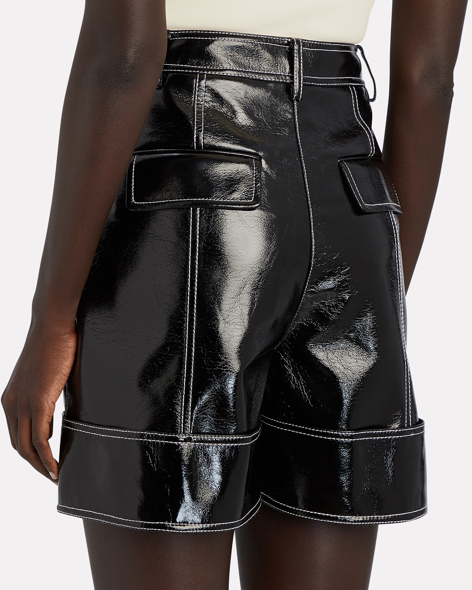 Cuffed Faux Patent Leather Shorts, BLACK, hi-res