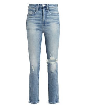 Vintage Distressed High-Rise Jeans, LIGHT WASH DENIM, hi-res