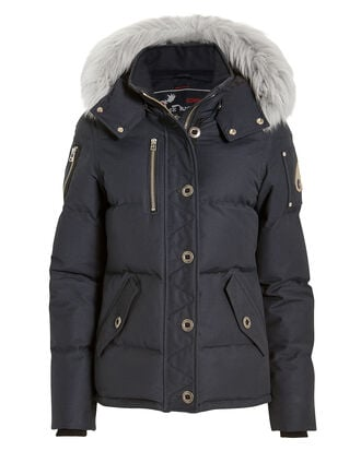 Shearling Hood Short Parka, NAVY, hi-res