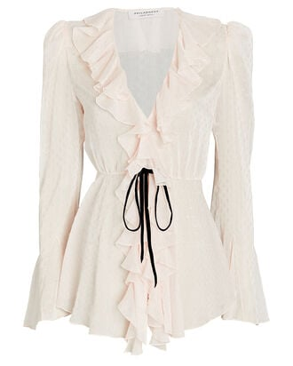 Ruffled Tie-Waist Blouse, BLUSH, hi-res