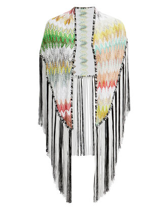 Triangle Fringe Wrap, WHITE/BLACK/GREEN, hi-res