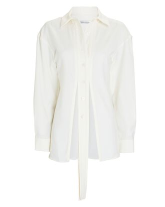 Wool Cut-Out Button-Down Shirt, WHITE, hi-res