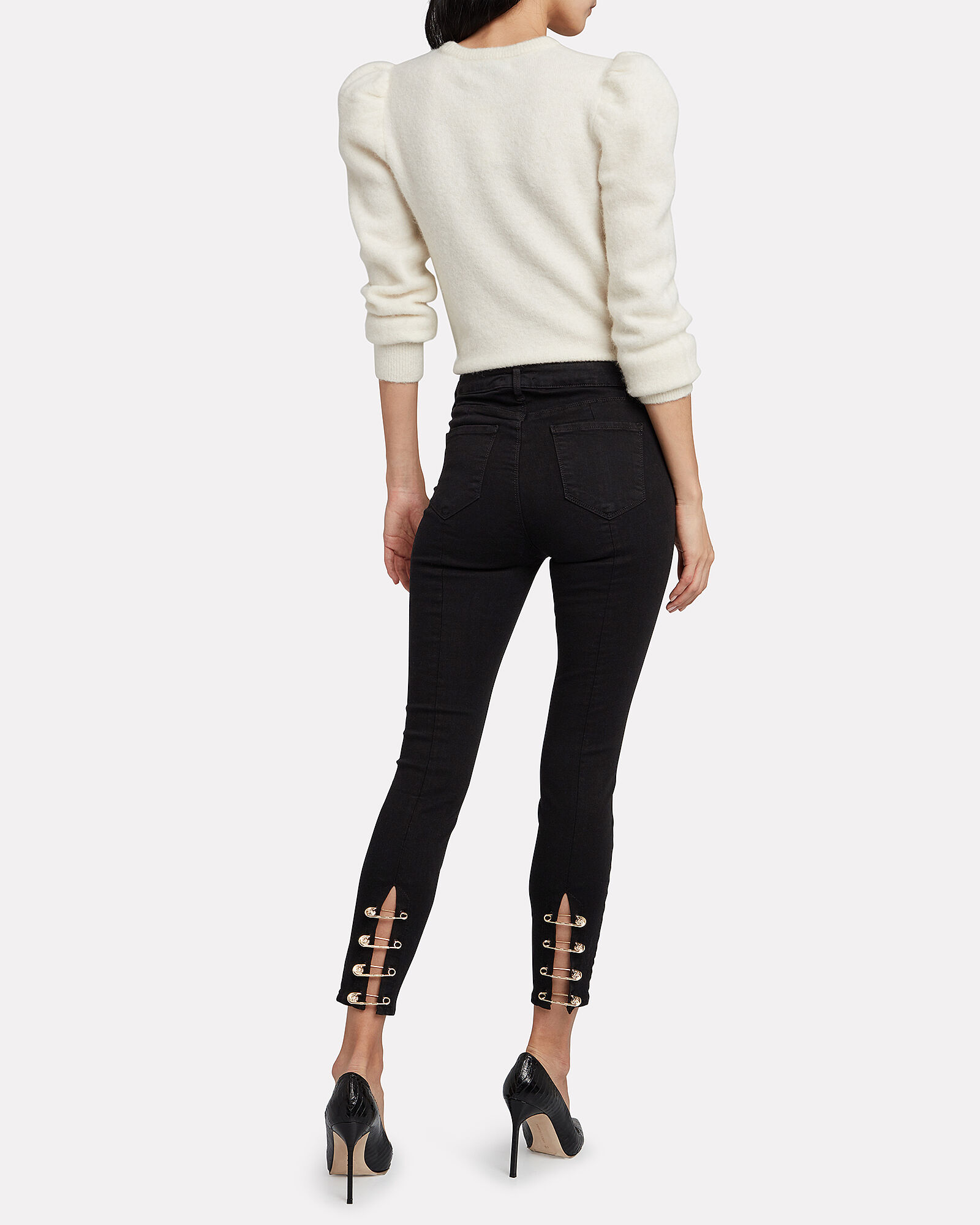 Nicolette High-Rise Safety Pin Jeans, BLACK, hi-res