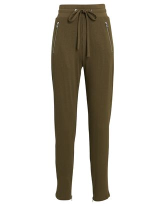 Rib Knit High-Rise Sweatpants, OLIVE, hi-res
