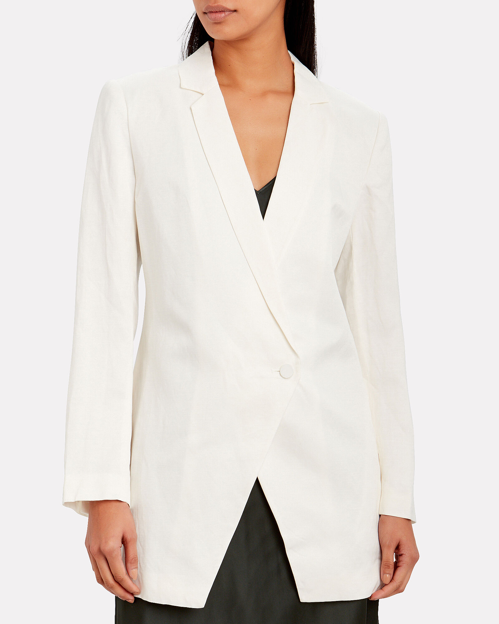 Laney Oversized Linen-Blend Blazer, WHITE, hi-res