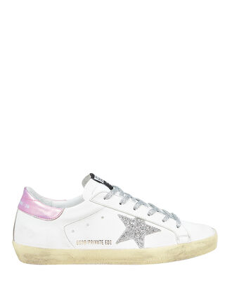 Superstar Leather Low Top Sneakers, WHITE/SILVER, hi-res