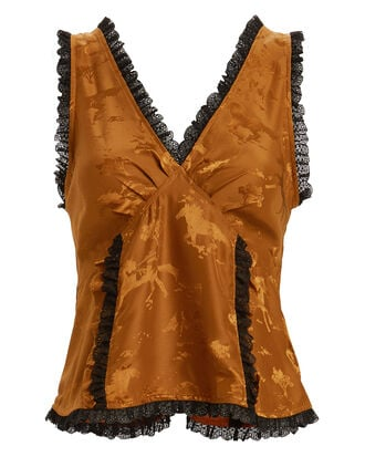 Silk Jacquard Tank, DARK GOLD/BLACK, hi-res