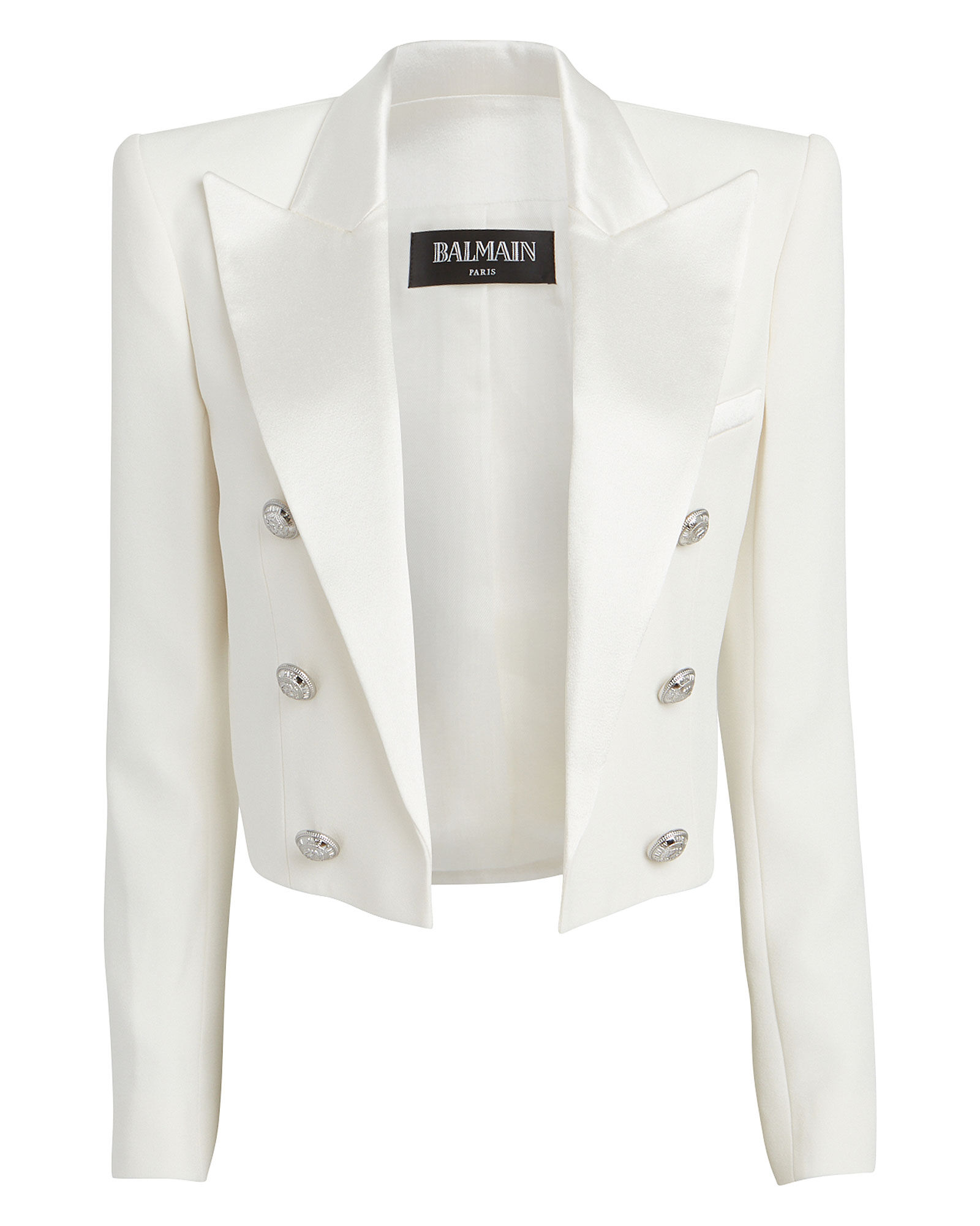 Cropped Double Breasted Crepe Blazer, IVORY, hi-res