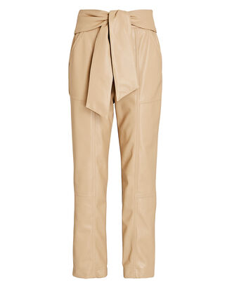 Tessa Tie-Waist Vegan Leather Pants, BEIGE, hi-res