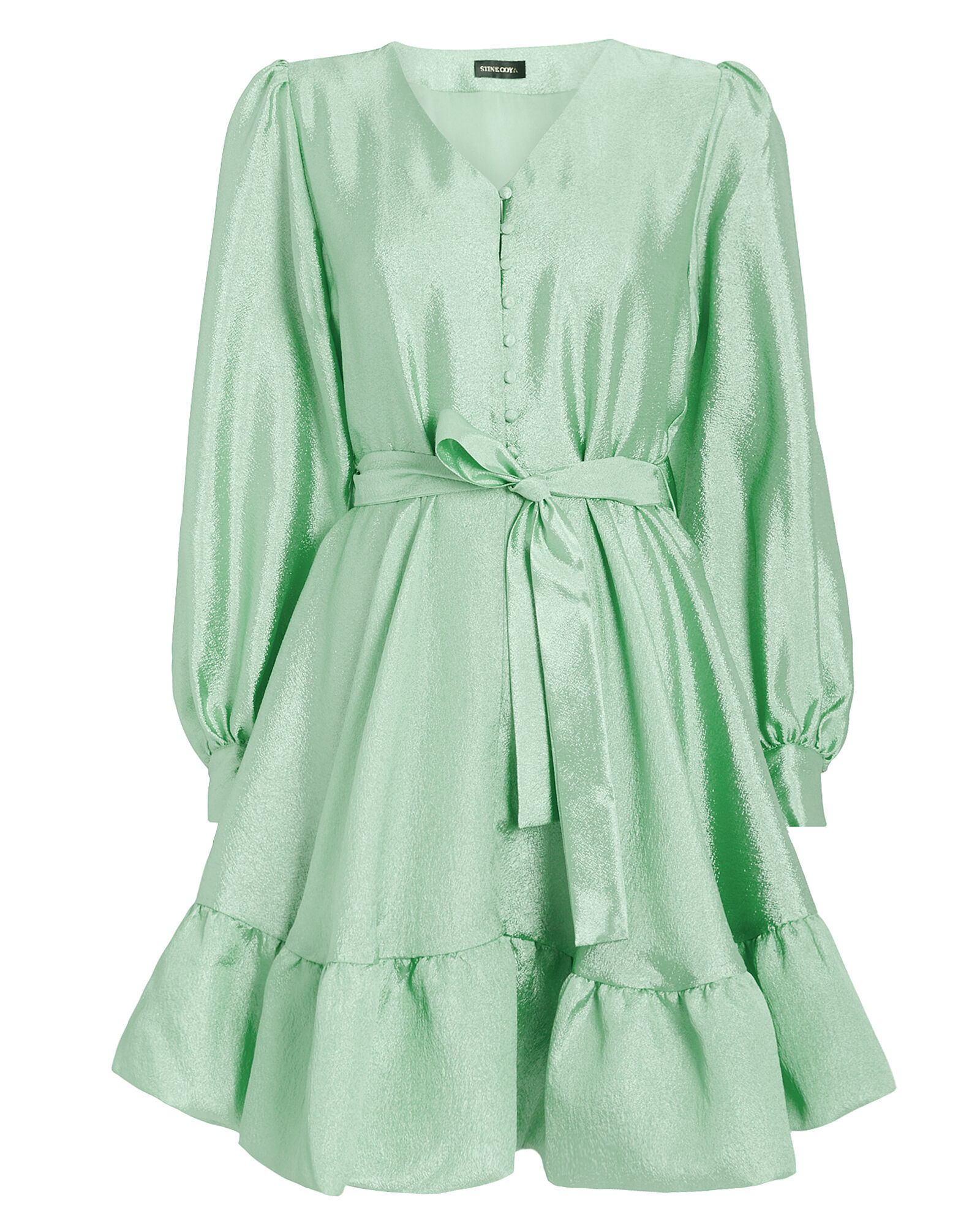 Farrow Crepe Blouson Sleeve Dress, GREEN-LT, hi-res