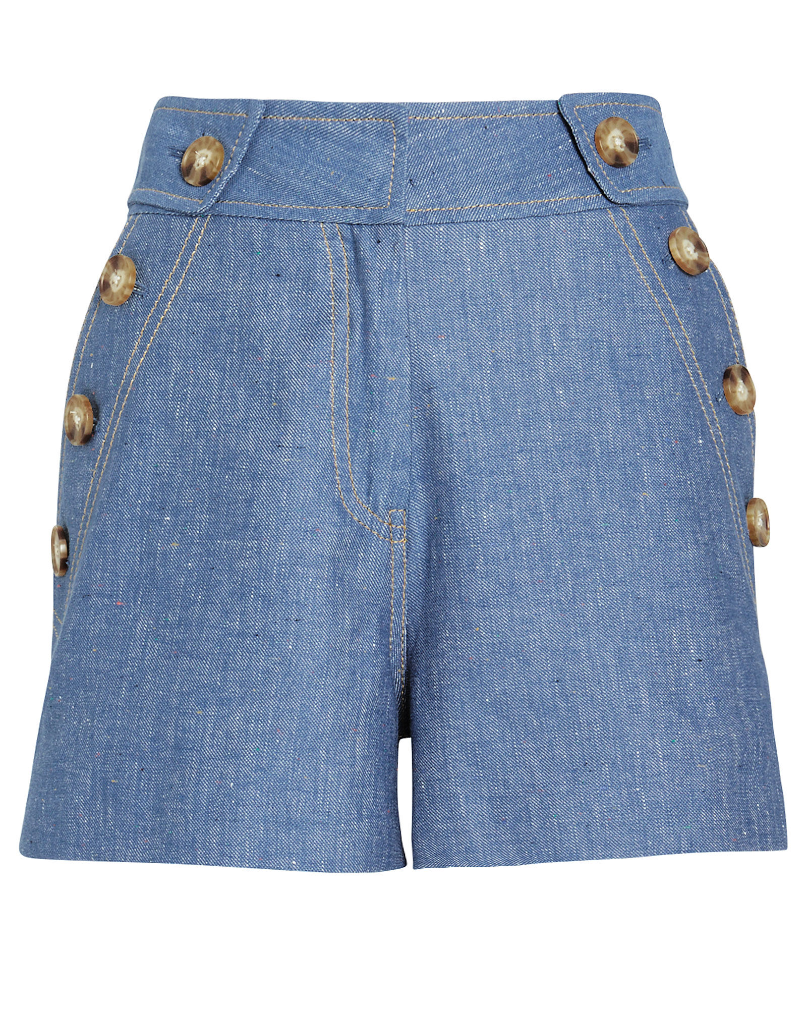 High Rise Cotton-Linen Shorts, NAVY, hi-res
