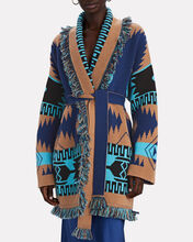Icon Cashmere-Wool Wrap Cardigan, BROWN/BLUE, hi-res