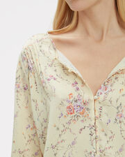 Talia Buttoned Silk Blouse, BISCUIT/FLORAL, hi-res