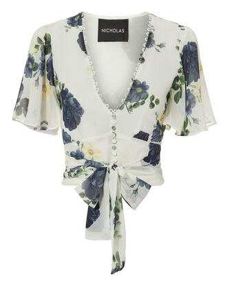 Floral Short-Sleeved Tie Waist Top, MULTI, hi-res
