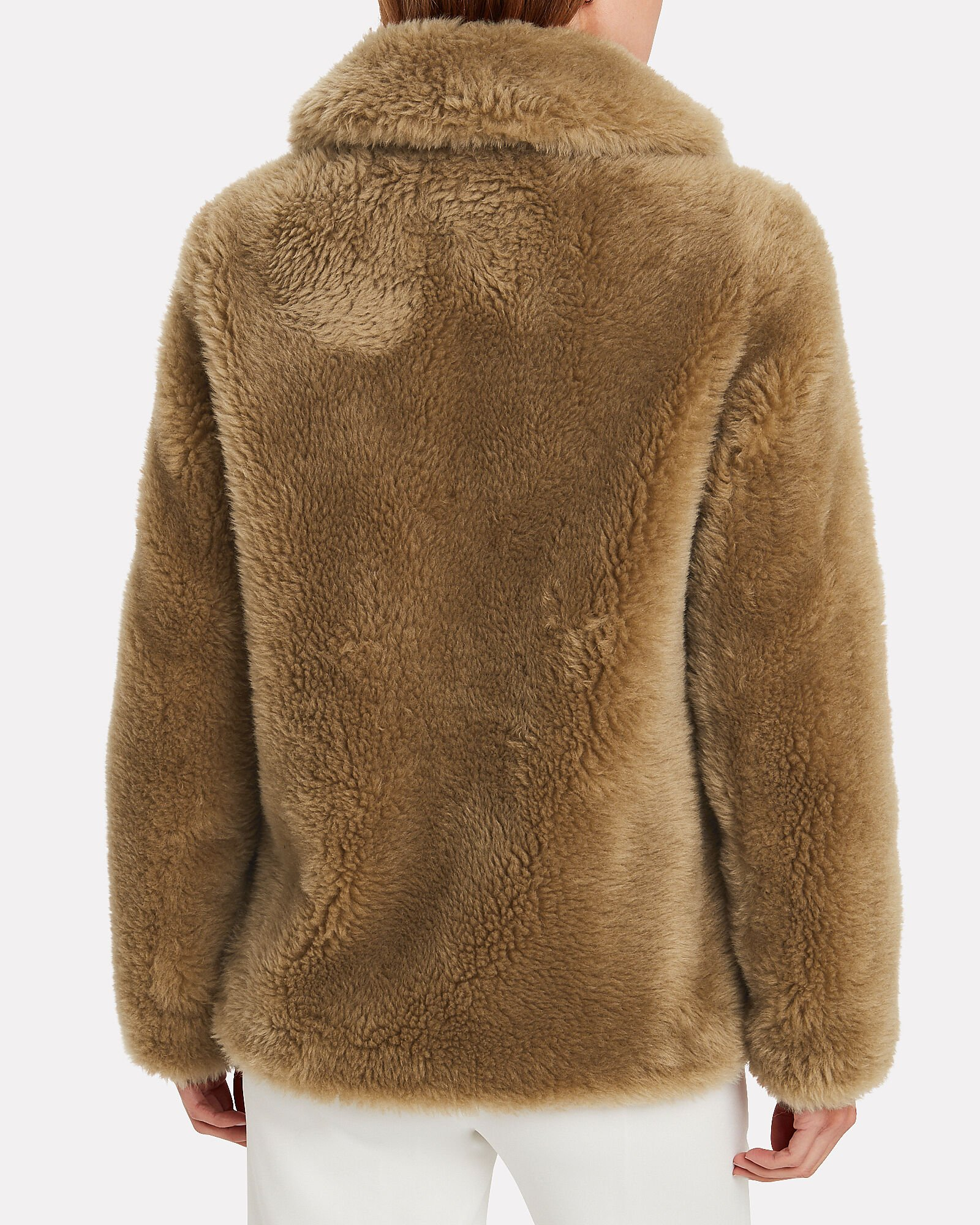 Curly Shearling Teddy Jacket, BEIGE, hi-res