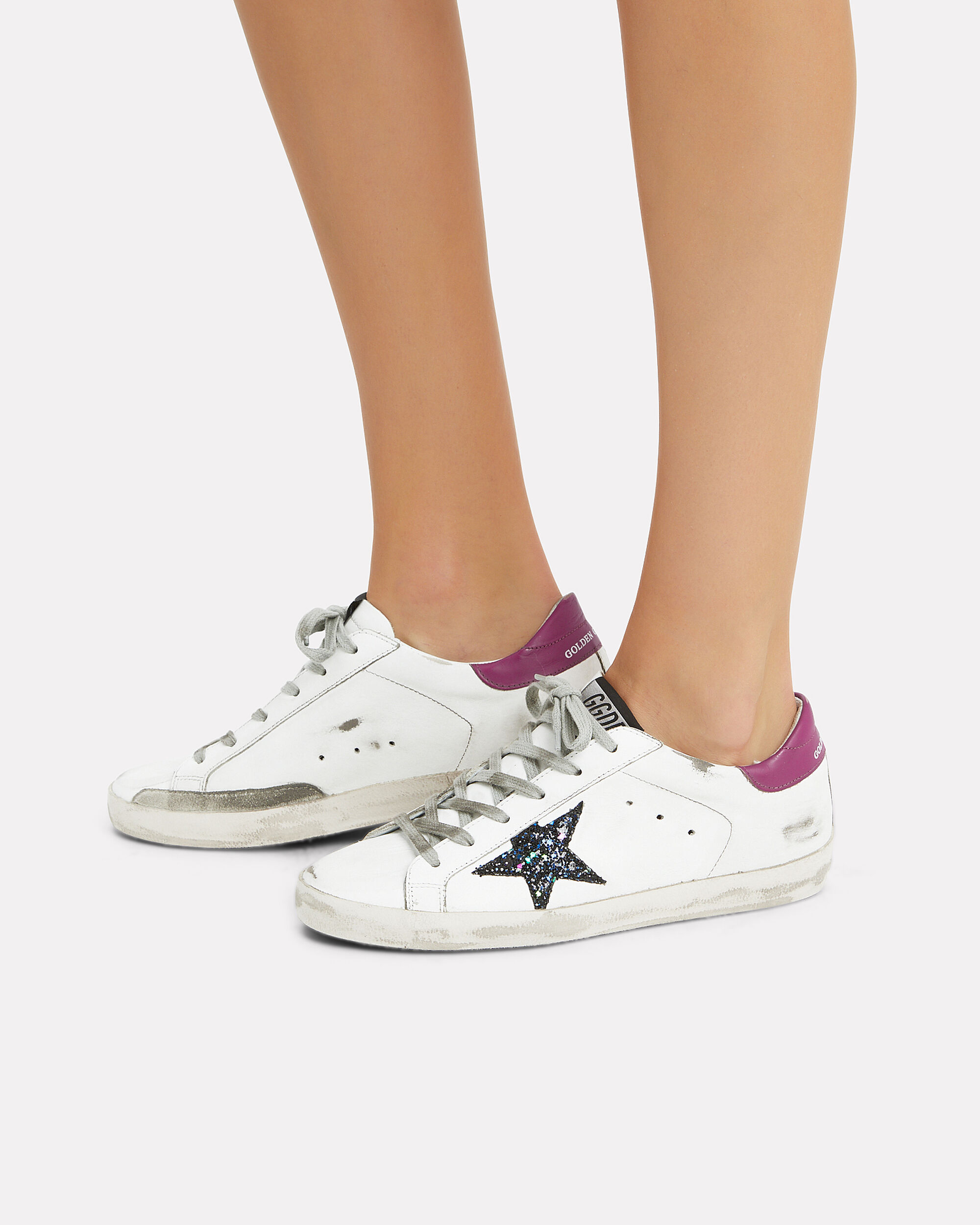 Superstar Glitter Star Low-Top Sneakers, WHITE, hi-res