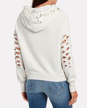 Lisse Distressed French Terry Hoodie, IVORY, hi-res