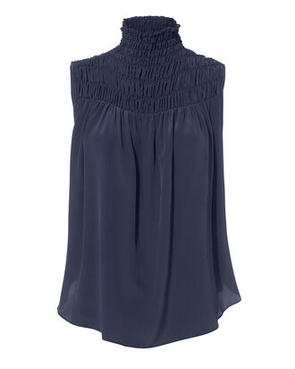 Smocked Navy Blouse, NAVY, hi-res