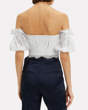 Puff Sleeve Multimedia Bustier Top, WHITE, hi-res