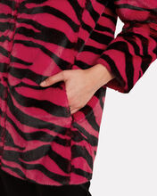 Zebra-Printed Faux Fur Coat, RED, hi-res